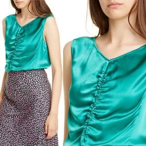 NWT Rebecca Taylor Silk Charmeuse Ruched Top